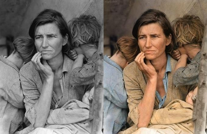 Migrant Mother,1936 - Флоренс Томпсон, мать с семью голодными детьми. Одна из канонических фото времен Великой Депрессии. Автор фото Дороти Ланж.