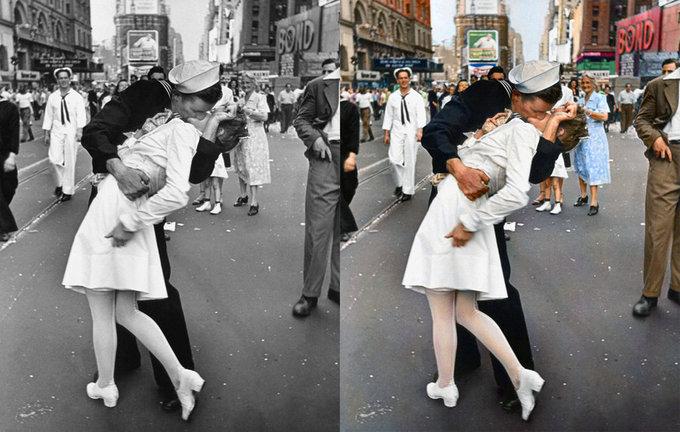 Поцелуй матроса и медсестры в честь окончания Японской войны (Тайм Сквер, Нью-Йорк, 1945) - автор Альфред Эйзенштедт