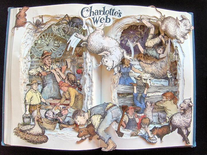Книжная скульптура Паутинка Шарлотты