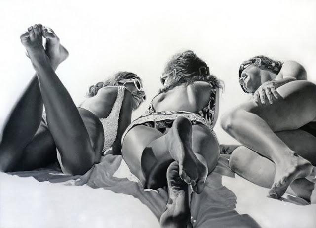 Черно-белые рисунки Фотореалистичные рисунки маслом Марты Пентер
