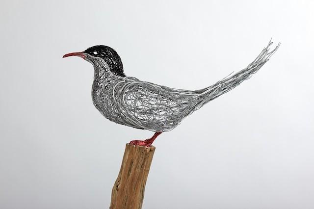 Скульптуры птиц из проводов-10