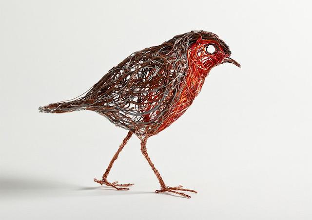 Скульптуры птиц из проводов-3