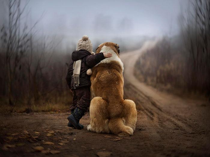 22 потрясающие фотографии дружбы больших собак и детей 15