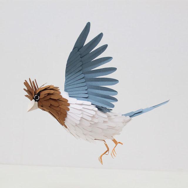 Бумажные скульптуры птиц Diana Beltran Herrera 15