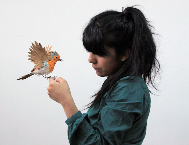 Бумажные скульптуры птиц Diana Beltran Herrera 9