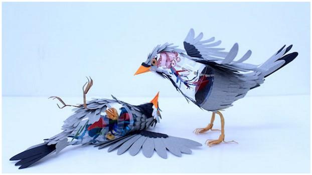Бумажные скульптуры птиц