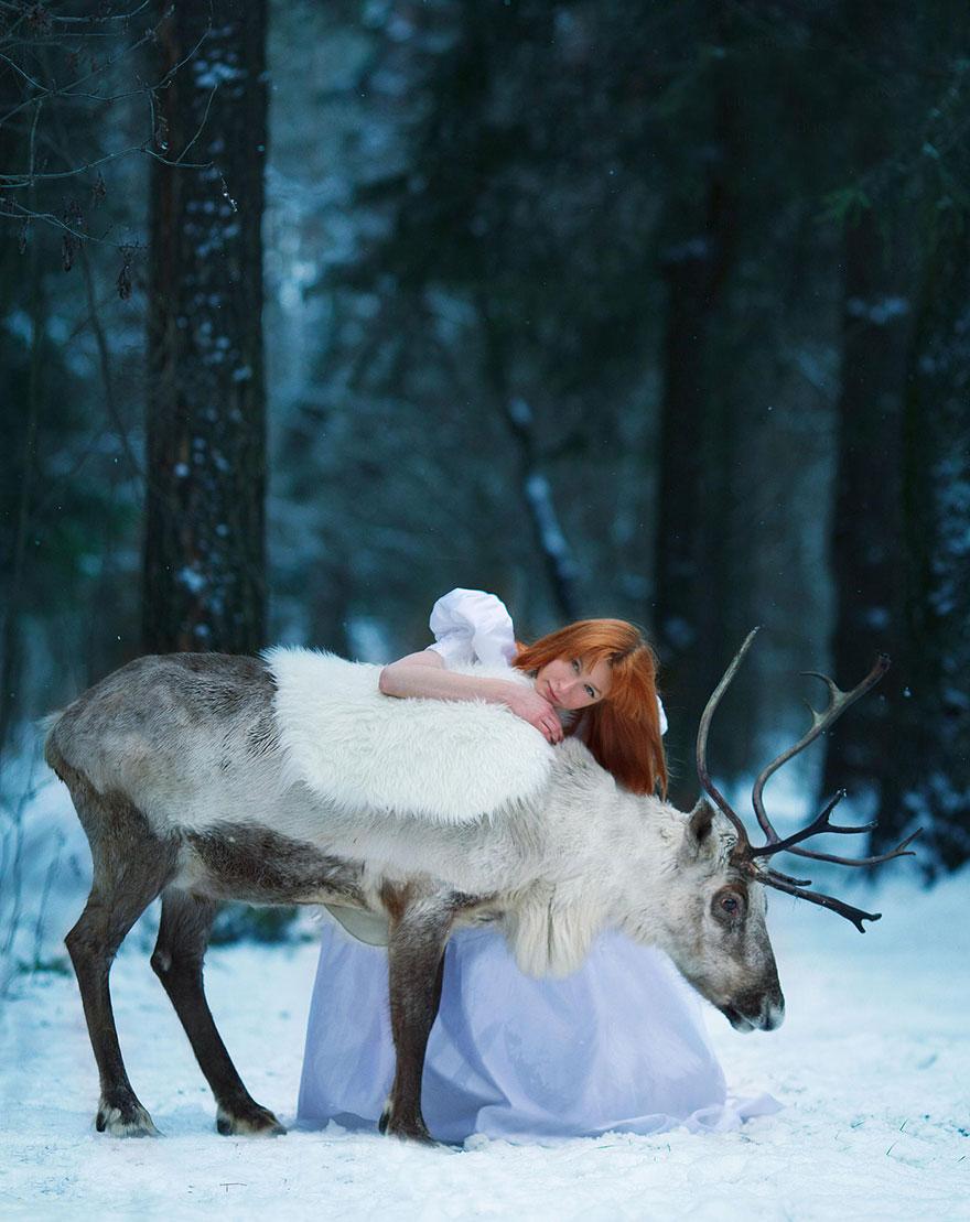 Сказочные сцены с настоящими животными, снятые русским фотографом Дарьей Кондратьевой 10