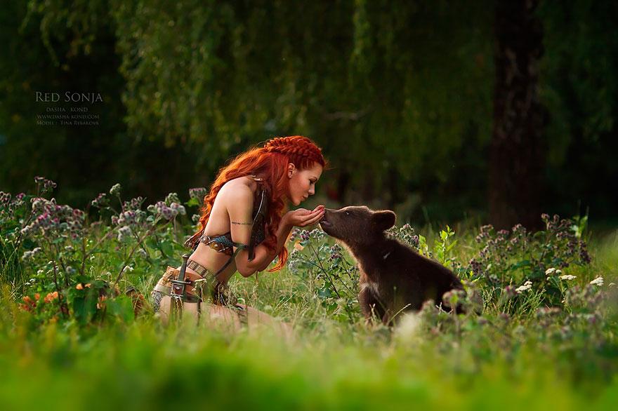 Сказочные сцены с настоящими животными, снятые русским фотографом Дарьей Кондратьевой 3
