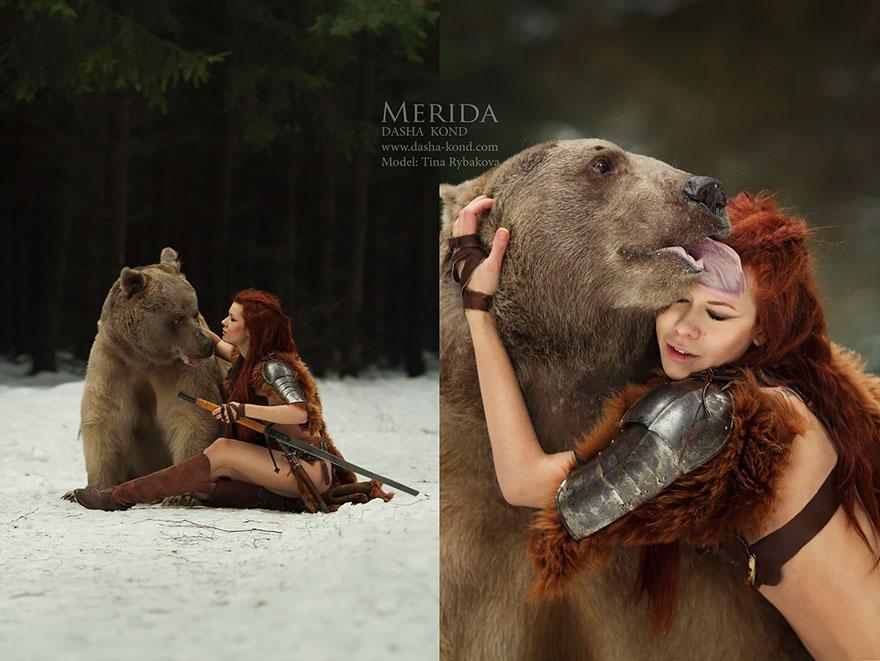 Сказочные сцены с настоящими животными, снятые русским фотографом Дарьей Кондратьевой 6