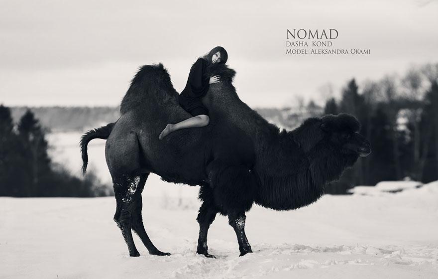 Сказочные сцены с настоящими животными, снятые русским фотографом Дарьей Кондратьевой 7