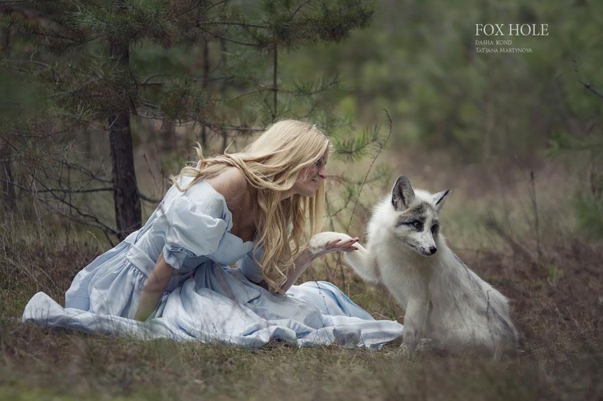 Сказочные сцены с настоящими животными, снятые русским фотографом Дарьей Кондратьевой 8