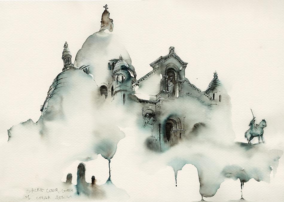 Базилика Сакре-Кёр в районе Монмартр, Париж