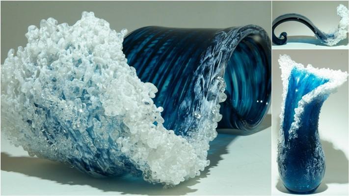 Гиперреалистичные вазы в стиле океанской волны