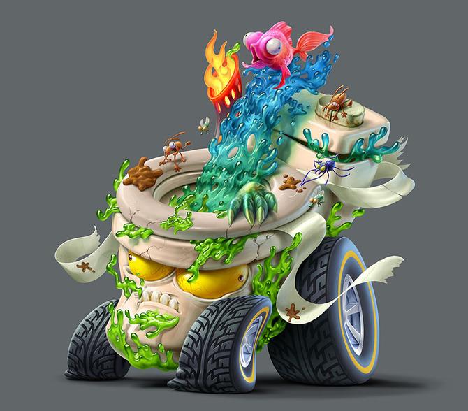 Мусор на колесах от художника Оскара Рамоса 4