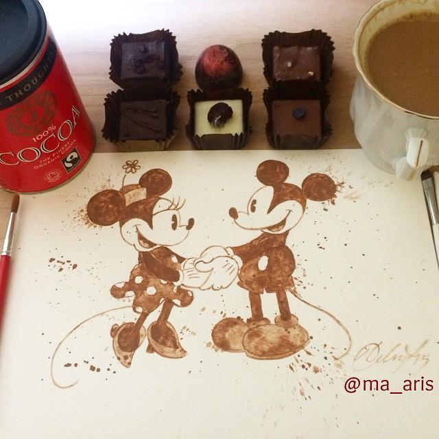 Невероятные рисунки, выполненные с  помощью кофе 11
