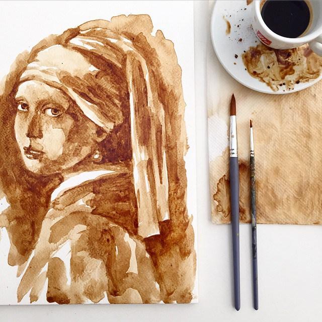 Невероятные рисунки, выполненные с  помощью кофе 12
