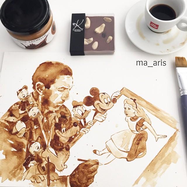 Невероятные рисунки, выполненные с  помощью кофе 14