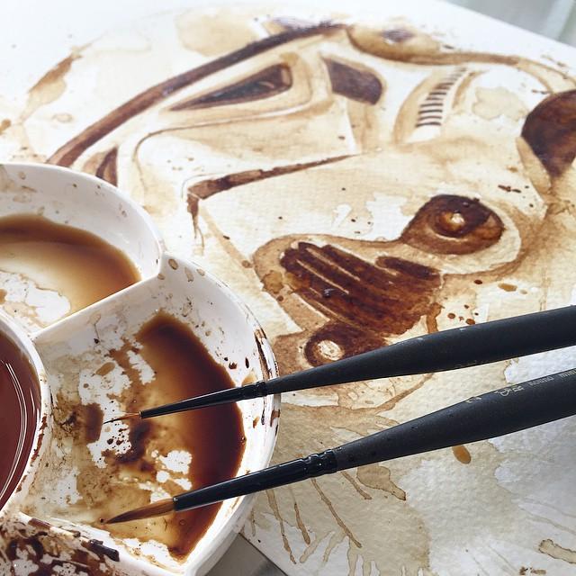 Невероятные рисунки, выполненные с  помощью кофе 2