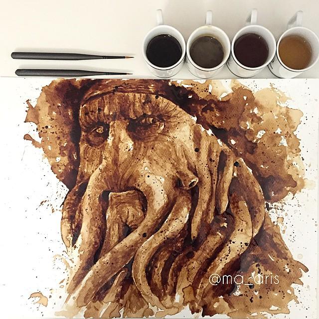 Невероятные рисунки, выполненные с  помощью кофе 5