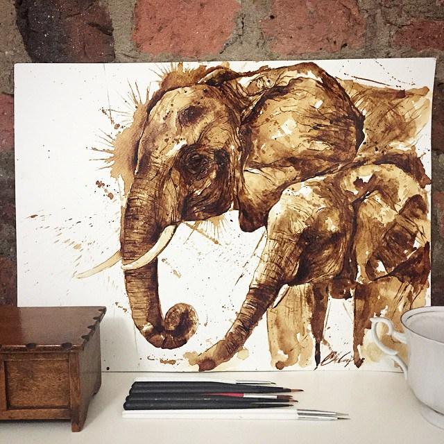Невероятные рисунки, выполненные с  помощью кофе 6