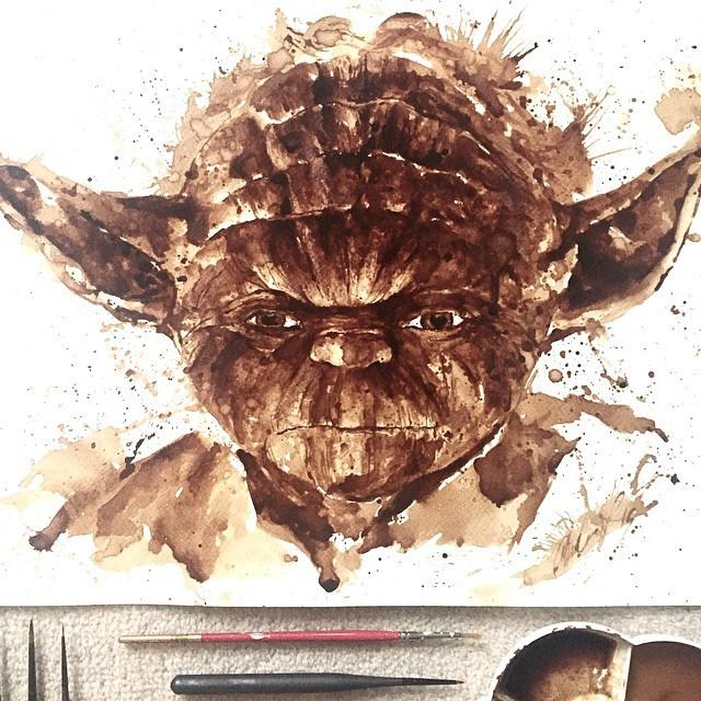Невероятные рисунки, выполненные с  помощью кофе 8