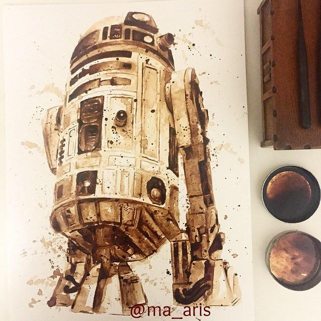 Невероятные рисунки, выполненные с  помощью кофе 9