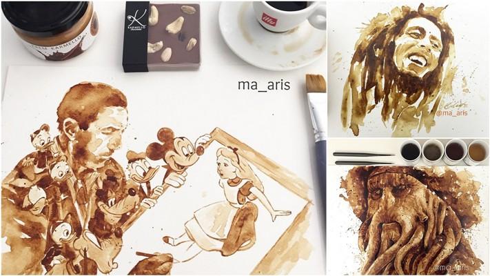 Невероятные рисунки, выполненные с  помощью кофе
