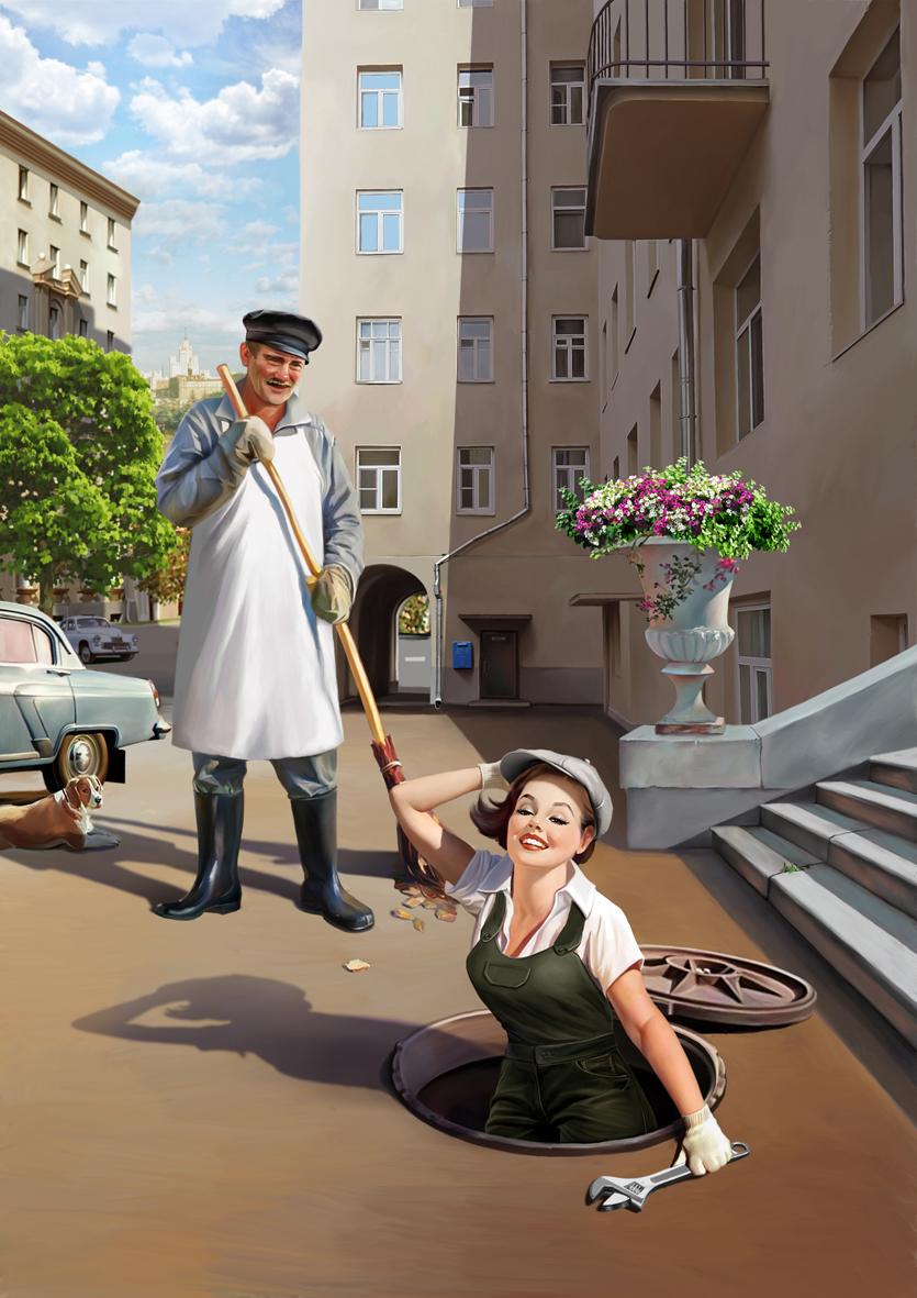 Советский пин-ап от художника Натальи Ершовой 4