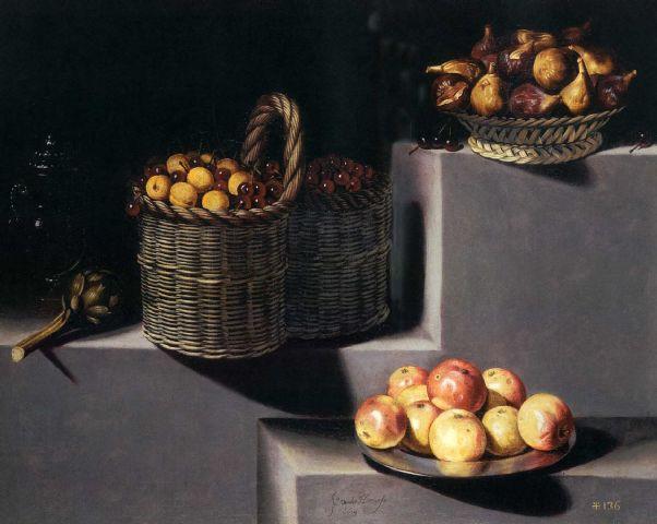 Натюрморт с артишоками, инжиром, вишнями, персиками и яблоками, 1629