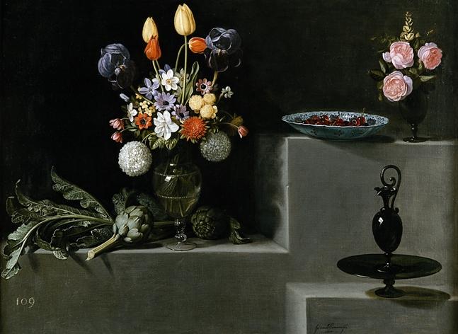 Натюрморт с цветами, артишоками, вишнями и стеклом, 1627