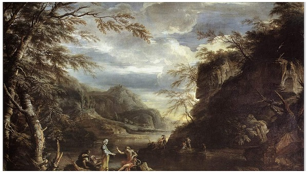 Картина Сальватора Роза Пейзаж с Аполлоном и Сивиллой Кумской