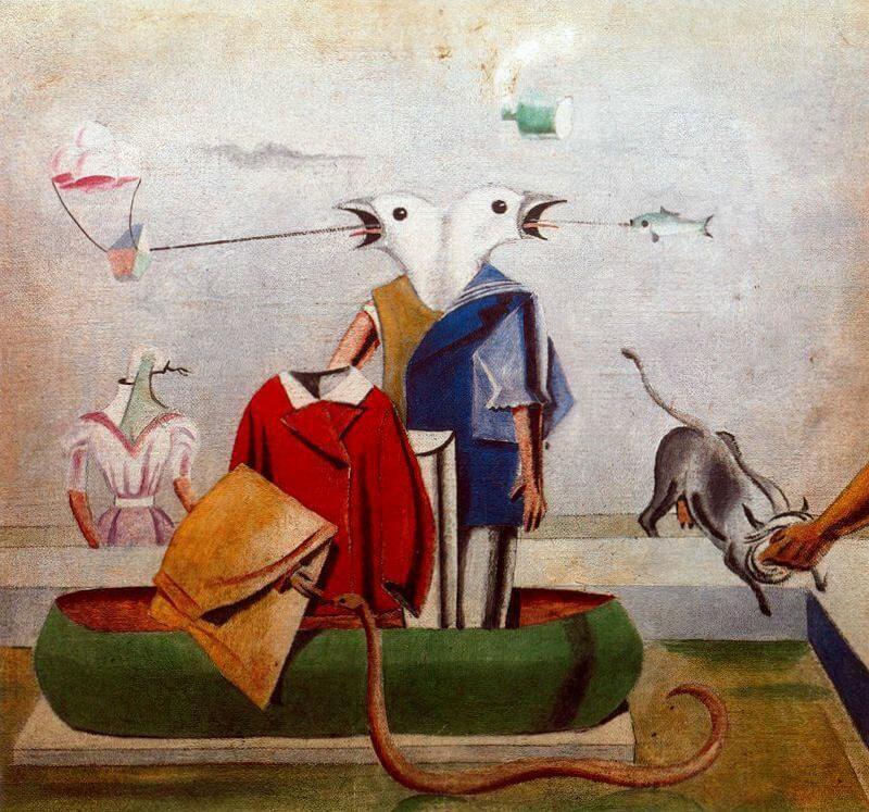 Птицы также птицы, рыбы и змеи Пугало - Макс Эрнст (1921)