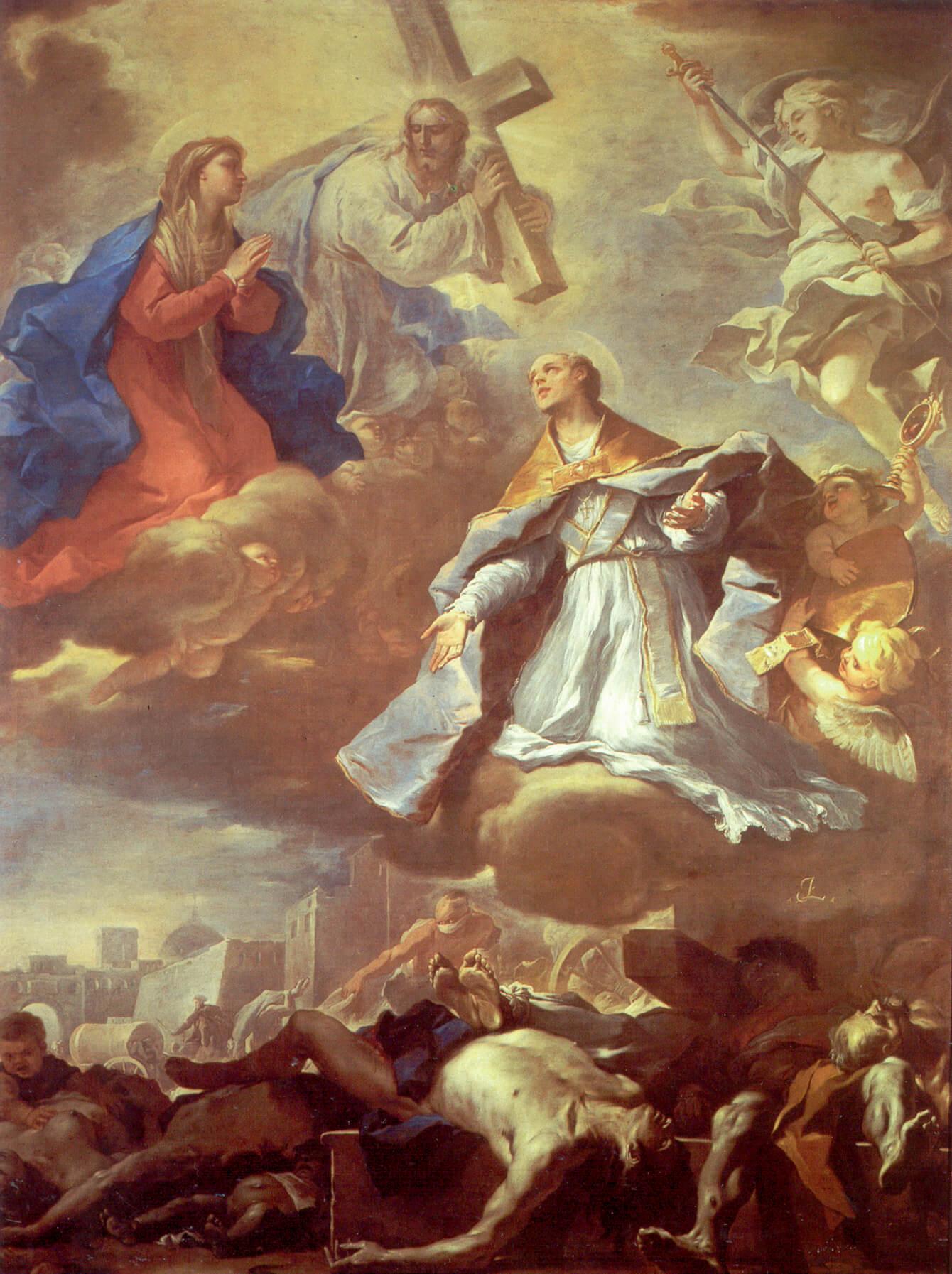 Лука Джордано - картина Святой Януарий спасает Неаполь от чумы