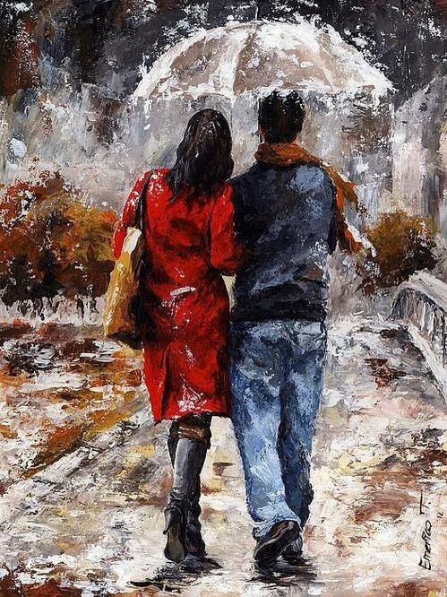 Картина прогулки под дождем