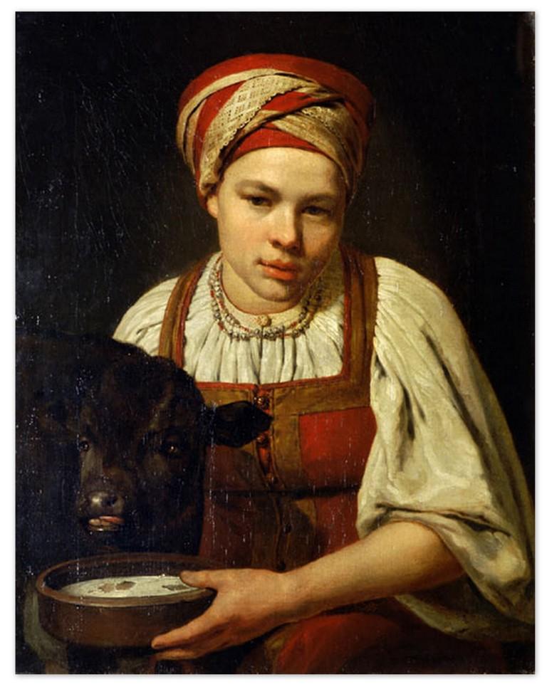 Алексей Венецианов - Девушка с теленком (1829, Третьяковская галерея, Москва )