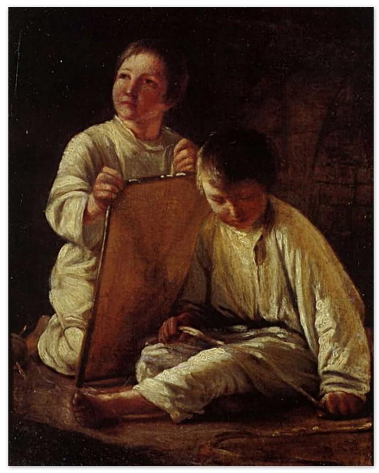 Алексей Венецианов - Два крестьянских мальчика со змеем (1820-е, Самарский областной художественный музейСамара )