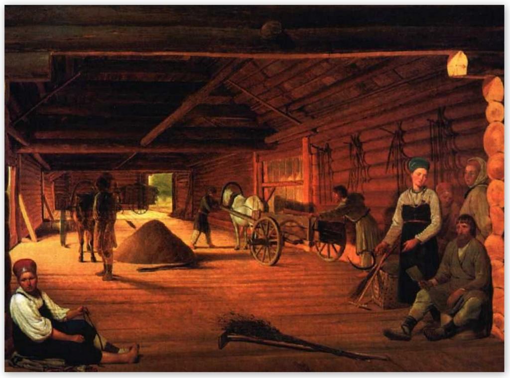 Алексей Венецианов -Гумно (1812, Русский музей, Санкт-Петербург )