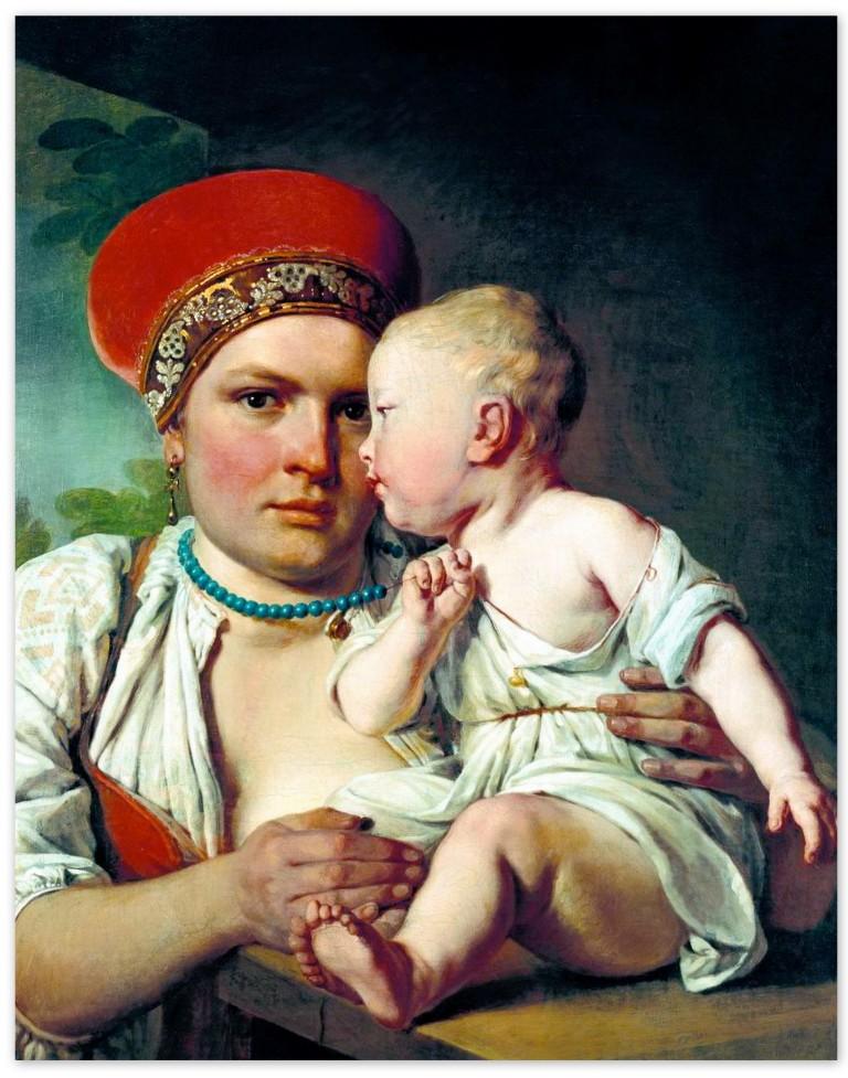 Алексей Венецианов - Кормилица с ребенком (1830-е, Третьяковская галерея, Москва )
