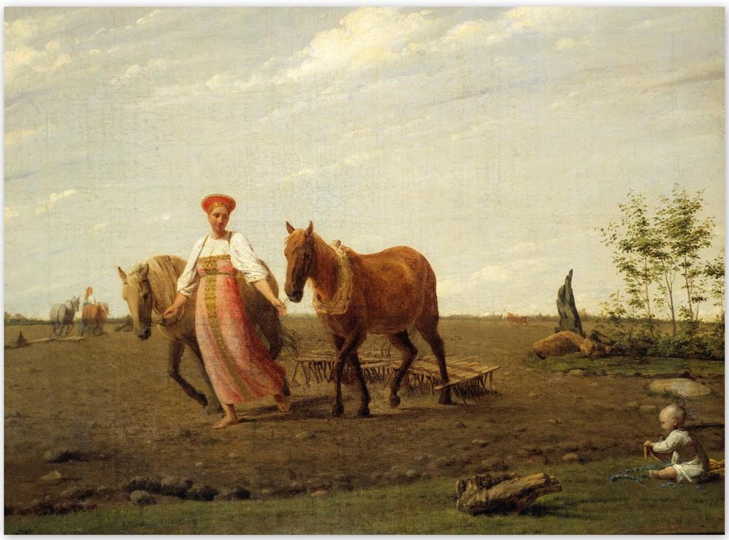 Алексей Венецианов - На пашне. Весна (1820-е, Третьяковская галерея, Москва)
