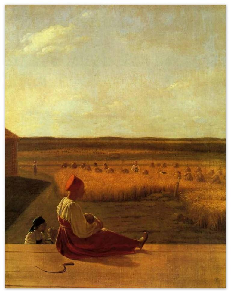 Алексей Венецианов - На жатве. Лето (1820, Третьяковская галерея, Москва)