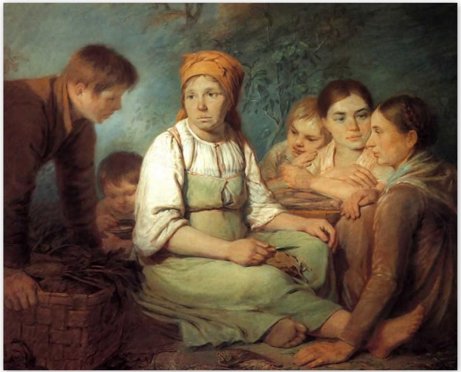 Алексей Венецианов - Очищение свеклы (1820, Третьяковская галерея, Москва)