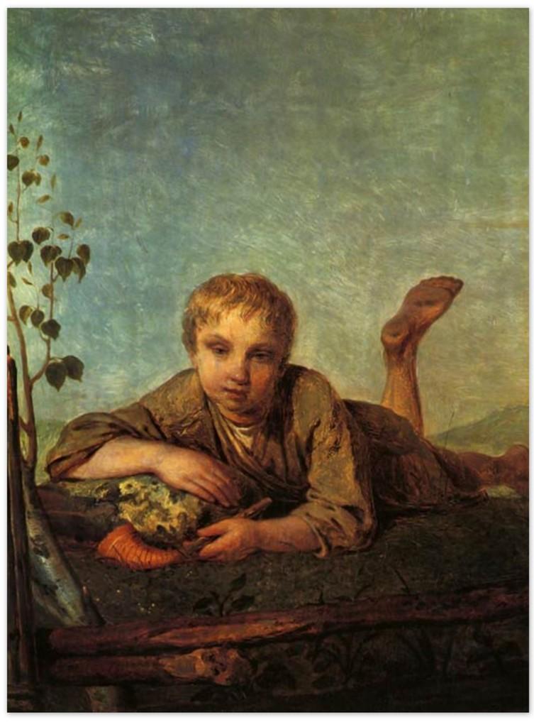 Алексей Венецианов - Пастушок с рожком (1820-е, Тверская областная картинная галерея, Тверь)