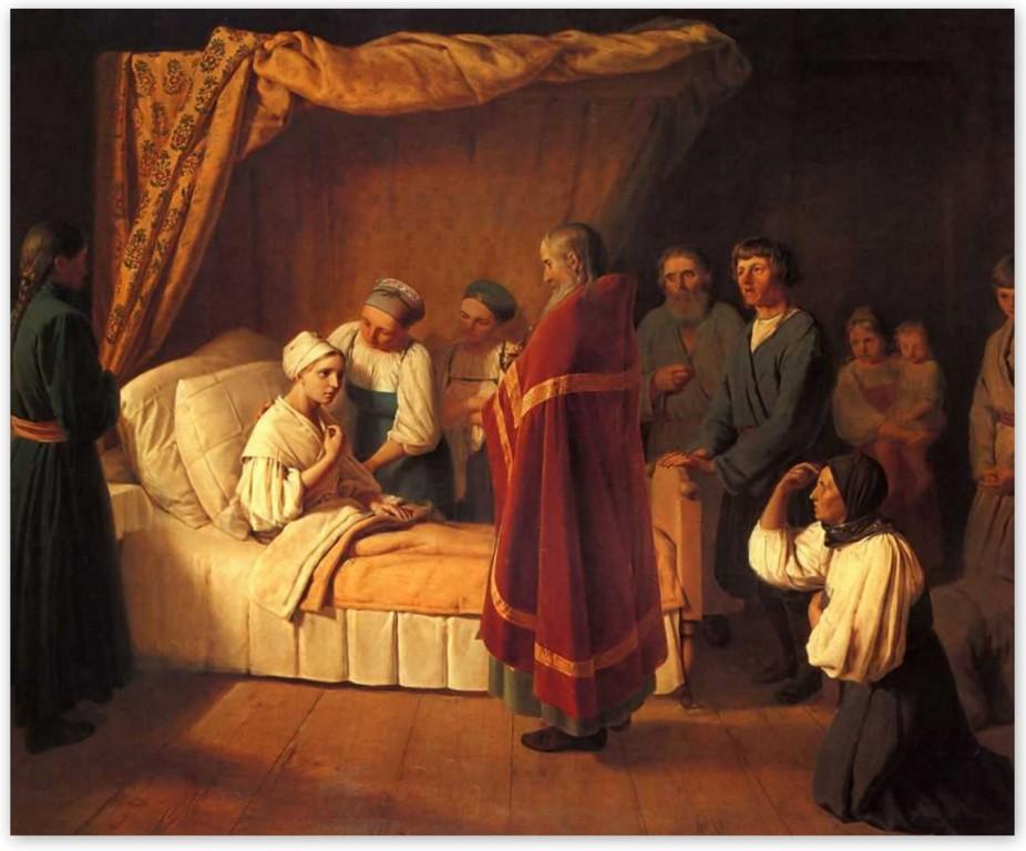 Алексей Венецианов - Причащение умирающей (1839, Третьяковская галерея, Москва)