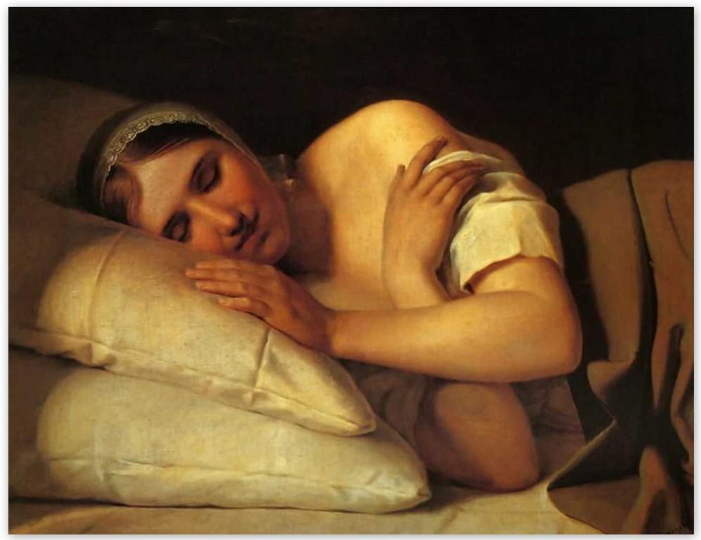 Алексей Венецианов - Спящая девушка (1840, Нижегородский государственный художественный музей)