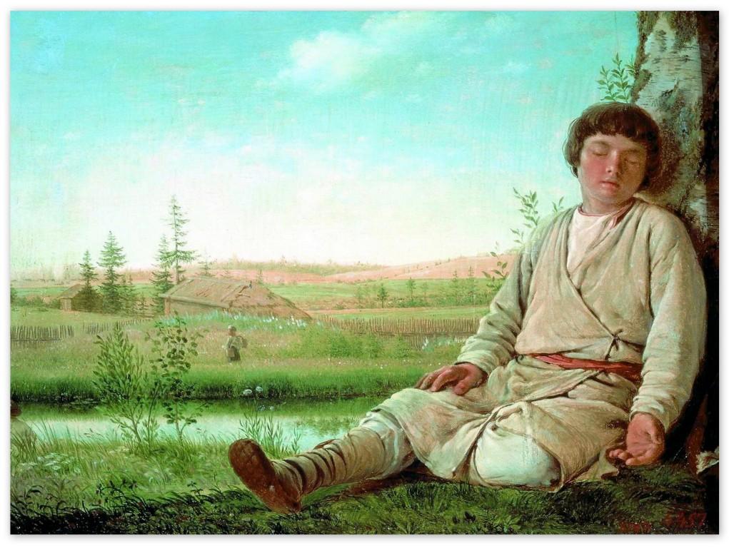 Алексей Венецианов - Спящий пастушок (1823, Русский музей, Санкт-Петербург)
