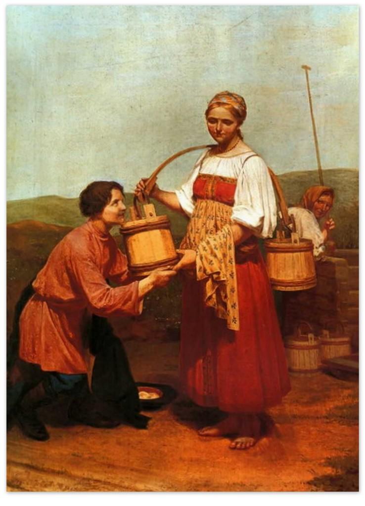 Алексей Венецианов - Встреча у колодца (1843, Азербайджанский государственный музей искусств, Баку )