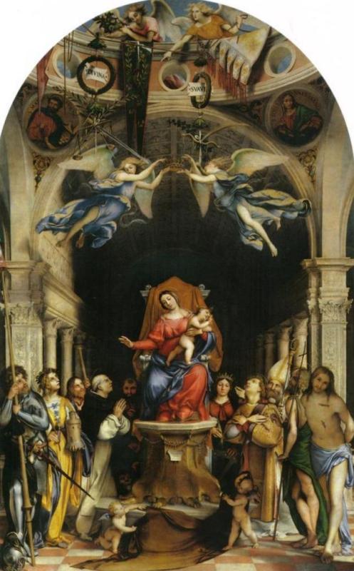 Алтарь полиптих Сан-Бартоломео, Бергамо, главная панель Мадонна с ангелами и святыми - Лоренцо Лотто (1516)