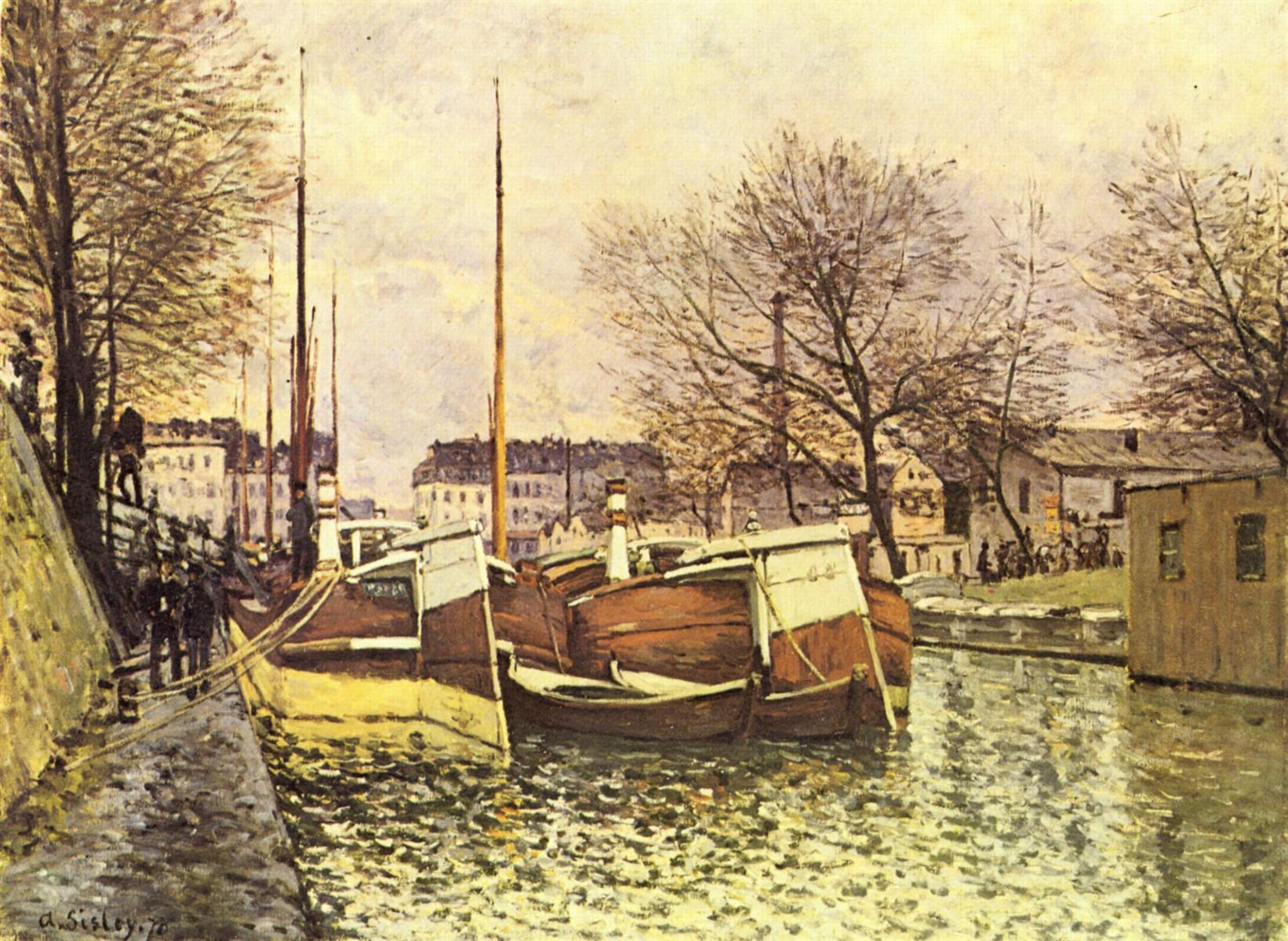 Баржи на канале Сен-Мартен в Париже - Альфред Сислей (1870)