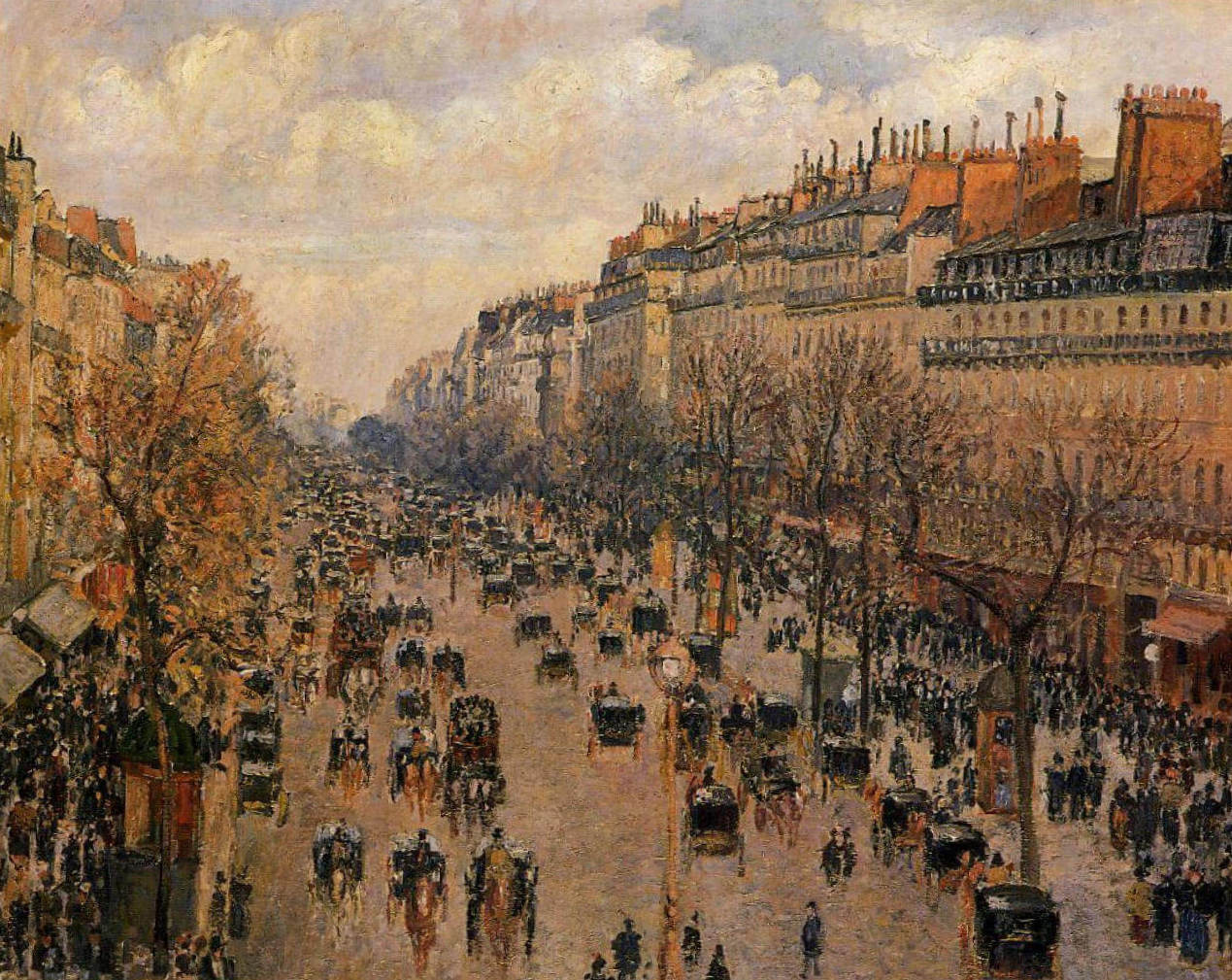 Бульвар Монмартр Во второй половине дня, солнечный свет - Камиль Писсарро (1897)