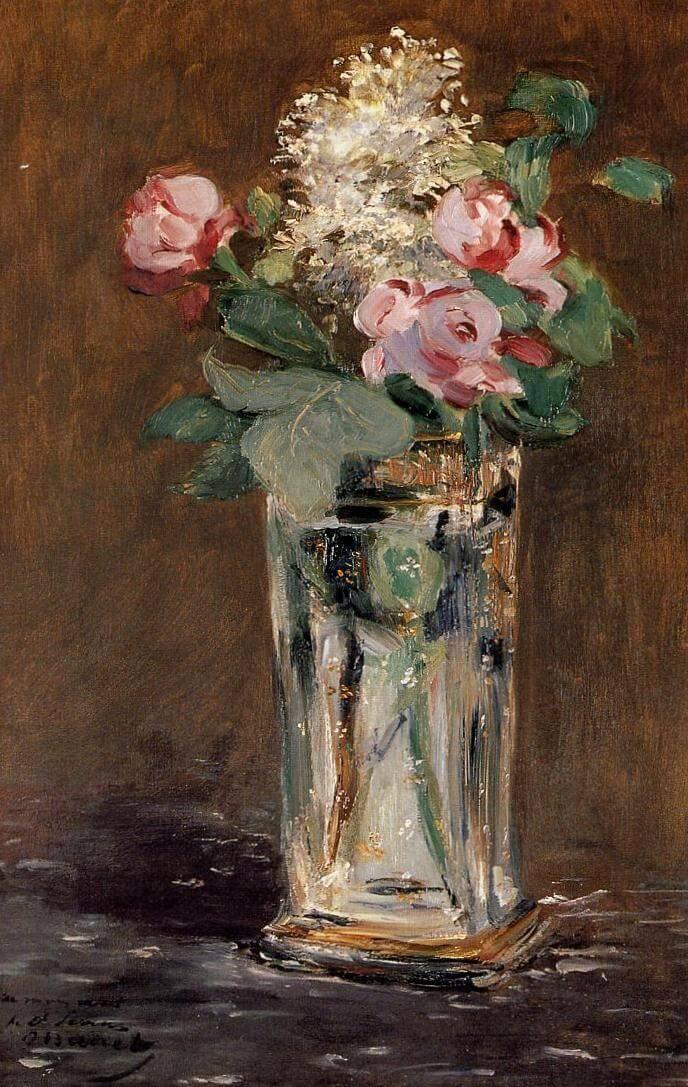 Цветы в хрустальной вазе - Эдуар Мане (1882)